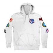 Space Patches Pullover Hoodie White