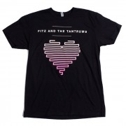 Lined Up Heart Unisex T-Shirt (Black)